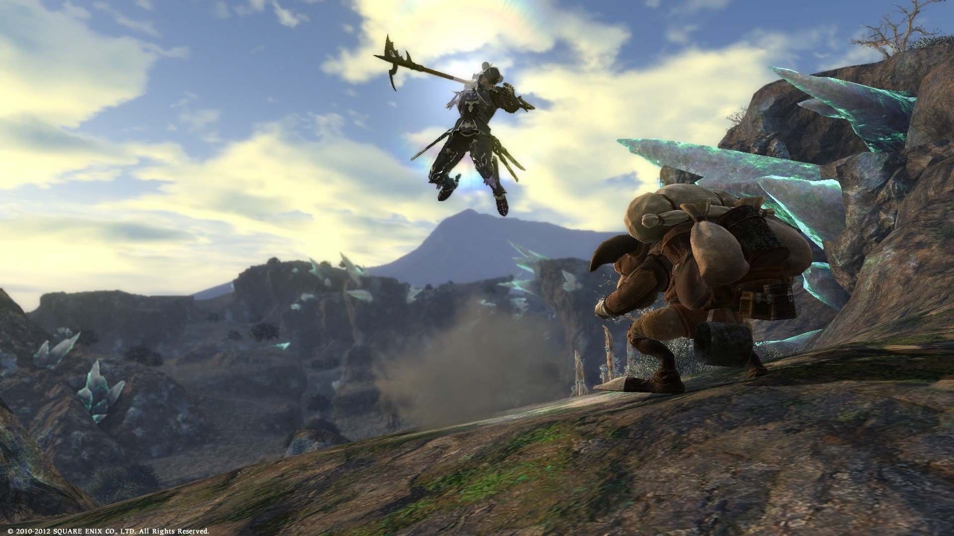 Final Fantasy XIV: A Realm Reborn - Dragoon in mid-jump