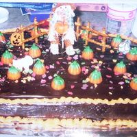 Pumpkin Patch Birthday Cake  Scarecrow in the Pumpkin Patch. The scarecrow was from a flower arrangement and the pumpkins are honey/candy corn that you can get during...